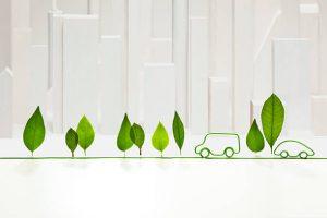 Voiture green avec feuilles vertes